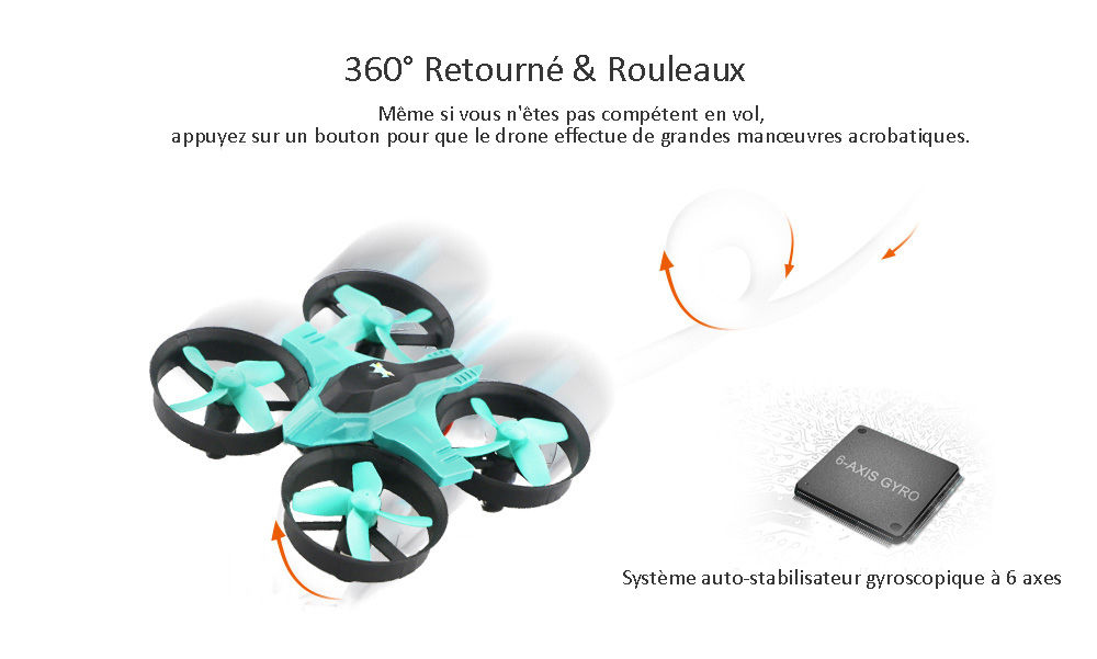 F36 Mini RC Drone - RTF- Cyan Standard Version