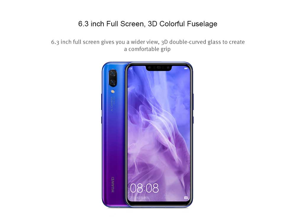 HUAWEI nova 3 4G Phablet 6.3 inch Android 8.1 Kirin 970 Octa Core 2.36GHz 6GB RAM 128GB ROM 16.0MP + 24.0MP Dual Rear Cameras Fingerprint Sensor 3750mAh Built-in- Purple Amethyst
