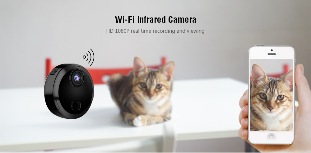 HDQ15 1080P HD Wi-Fi Night Vision Infrared Camera 150-degree Wide Angle Cameras  - Black