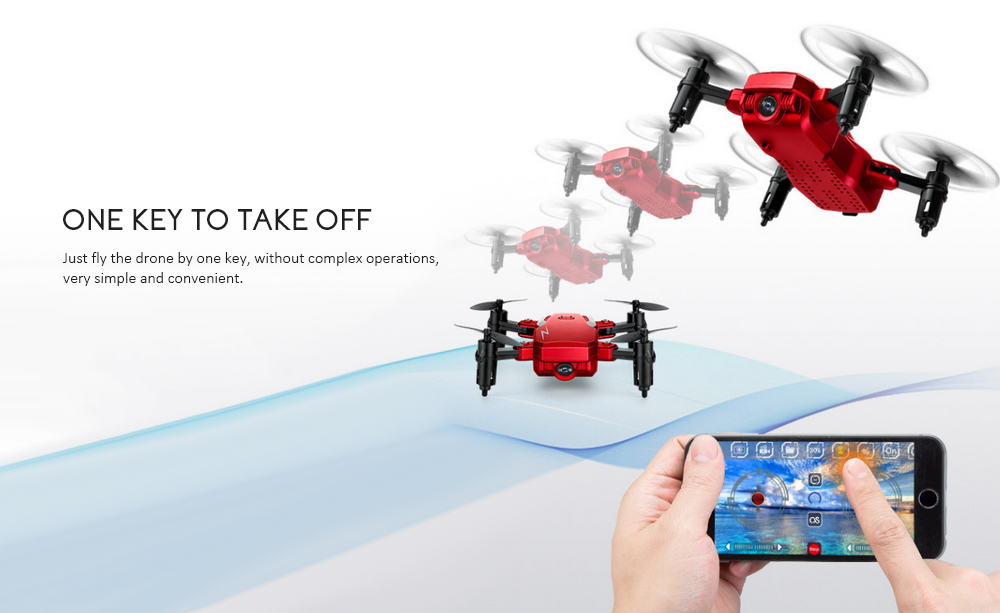 TXD - G1 Foldable Mini RC Drone WiFi Altitude Hold One Key Takeoff 360-degree Stunt High / Low Speed Quadcopter- Red 0.3MP Camera