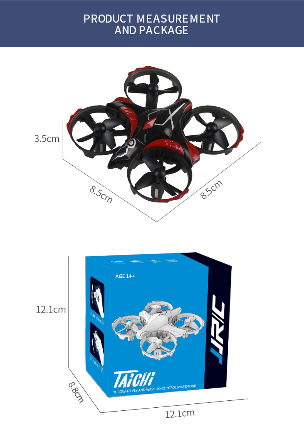 JJRC H56 TaiChi RC Drone Interactive Altitude Hold Gesture Control Throw Shake Fly 3D Flip One Key Takeoff Landing - Black
