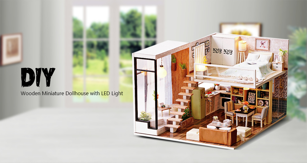 Diy Wooden Miniature Dollhouse With Led Light 31 99 Free Shipping