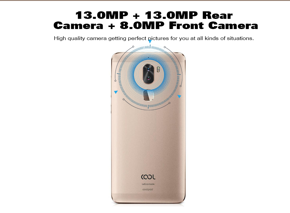 Coolpad Cool1 Dual ( C103 ) 4G Phablet Global Version Android 6.0 5.5 inch Snapdragon 652 Octa Core 1.8GHz 4GB RAM 32GB ROM 13.0MP Dual Rear Cameras- Golden