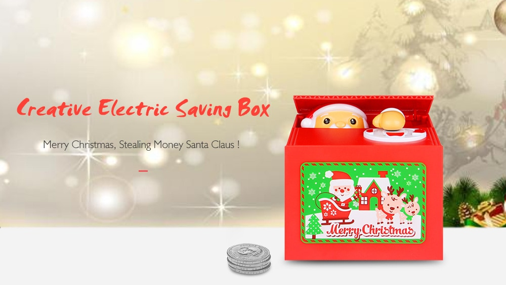 Cute Santa  Automatic Coin Grabing Eating Money Saving Box- Red