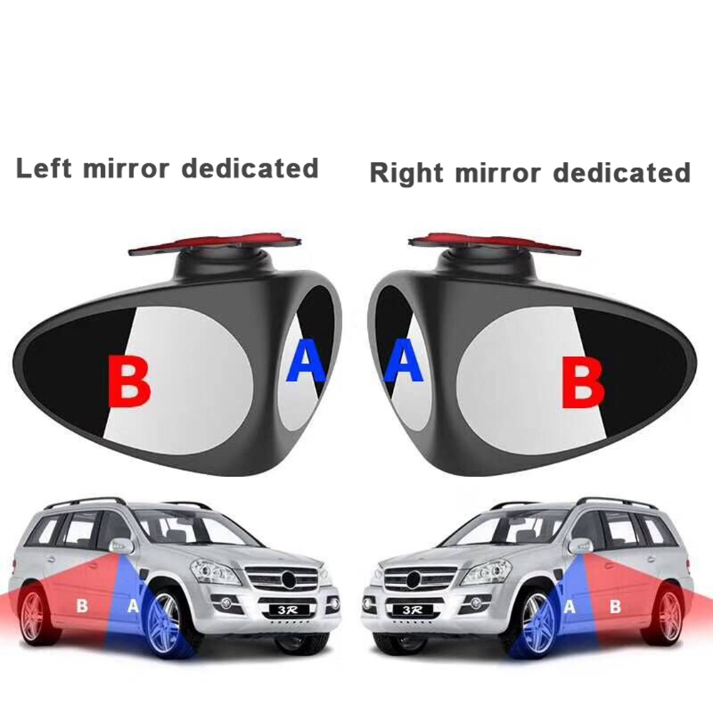 Automotive Rear View Rotary Adjustable Wide-angle Blind Spot Mirror- Black right side