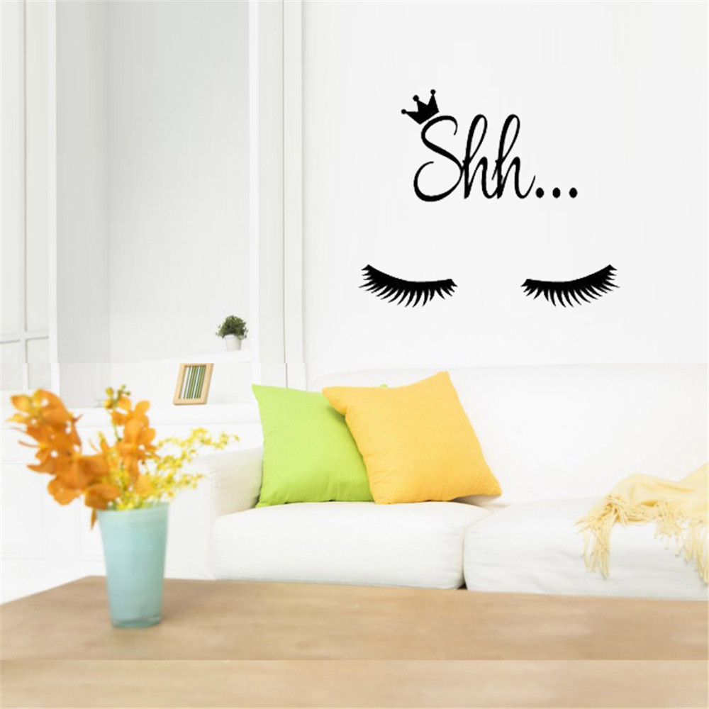 Adesivo da parete Decor per camera da letto per ragazze Cute Beautiful Eyes Eyelash Pattern- Multi-A 8 x 8 inch