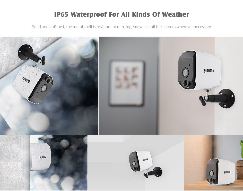 gocomma Outdoor Security IP Network Battery Camera Low Consumption PIR Motion Detection APP Monitoring- White