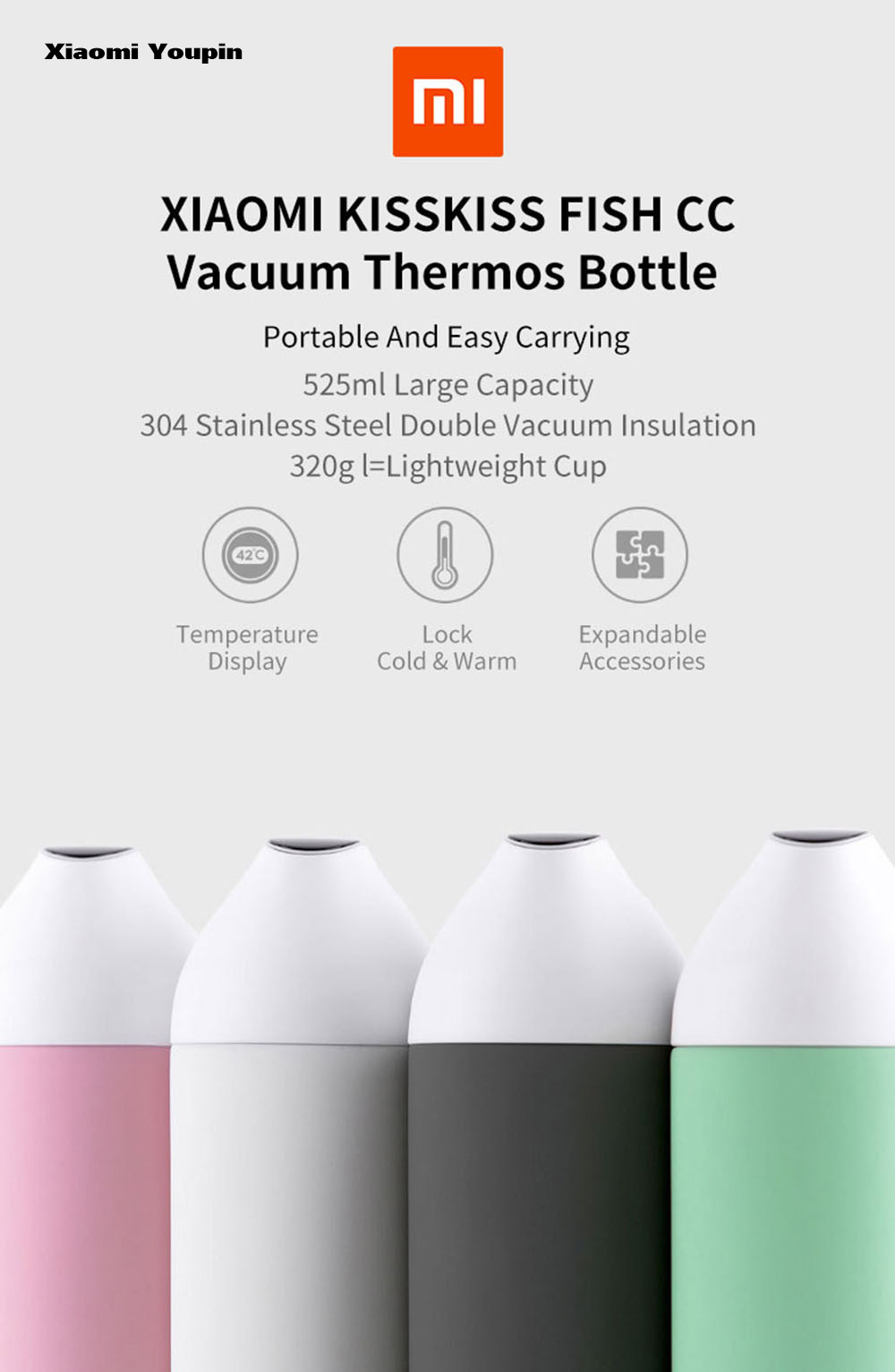Xiaomi Youpin Kiss Fish CC Smart Water Bottle with Temperature Display- Black