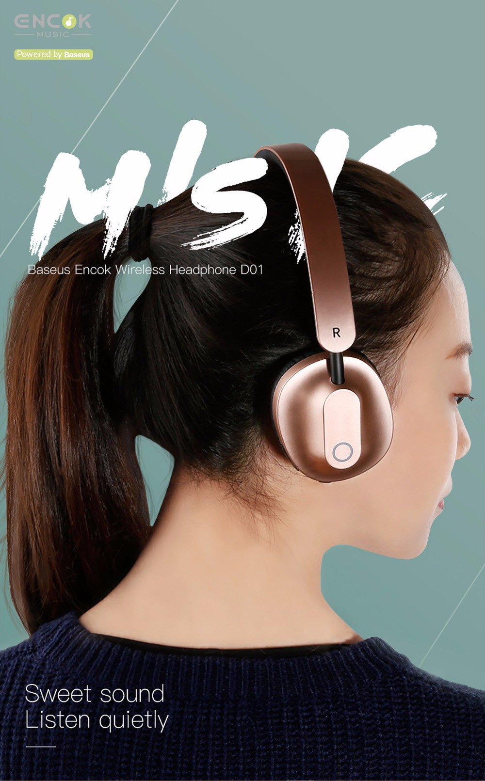 Baseus Encok D01 Foldable Wireless Bluetooth Headset On-ear Stereo Headphone with Mic - Gold