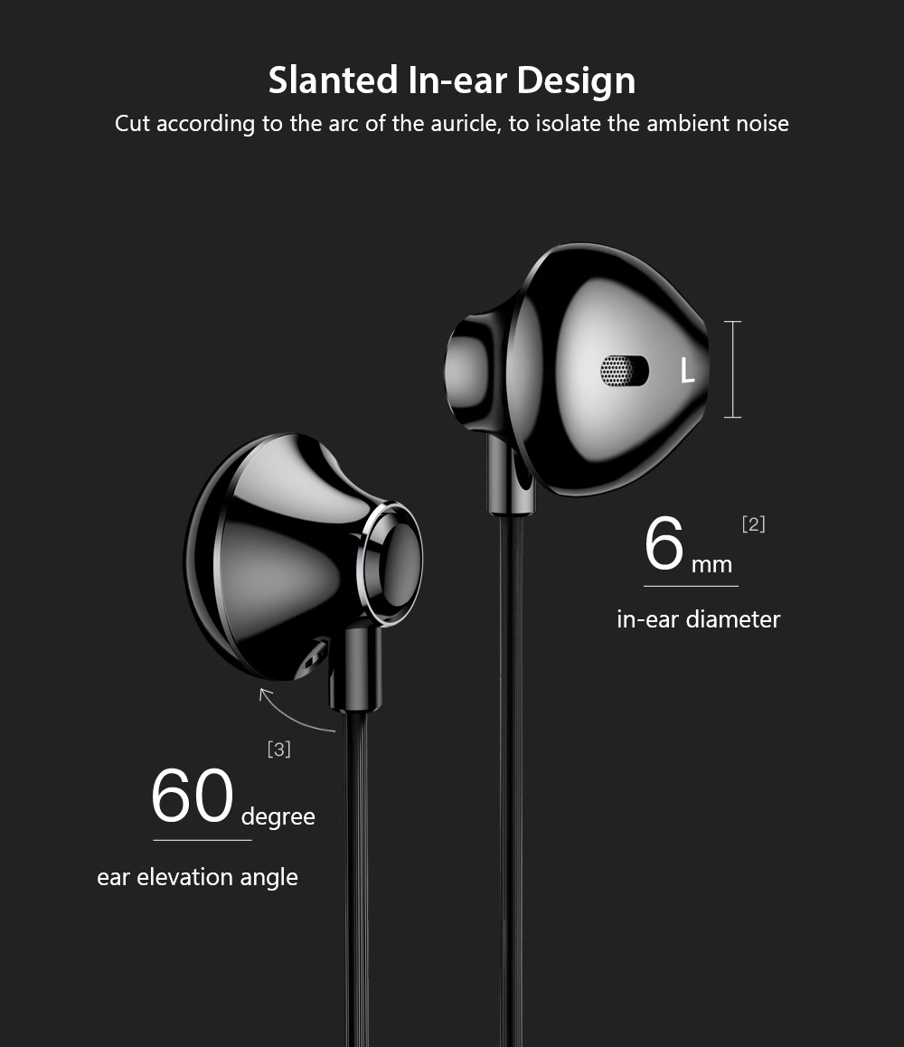 Baseus Encok H06 Side-in-ear Earphone 6D Stereo Earbuds with Mic and Line Control- Black