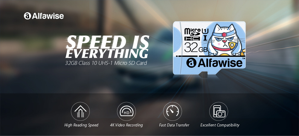 Alfawise 32GB High Speed Micro SD Memory Card- Light Blue 32GB