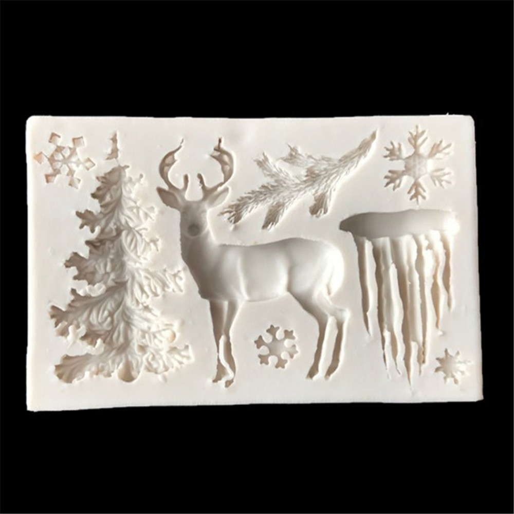 Rectangular Gray White Silicone Christmas Tree Elk Snowflake Icicle Fondant Mold- Cool White