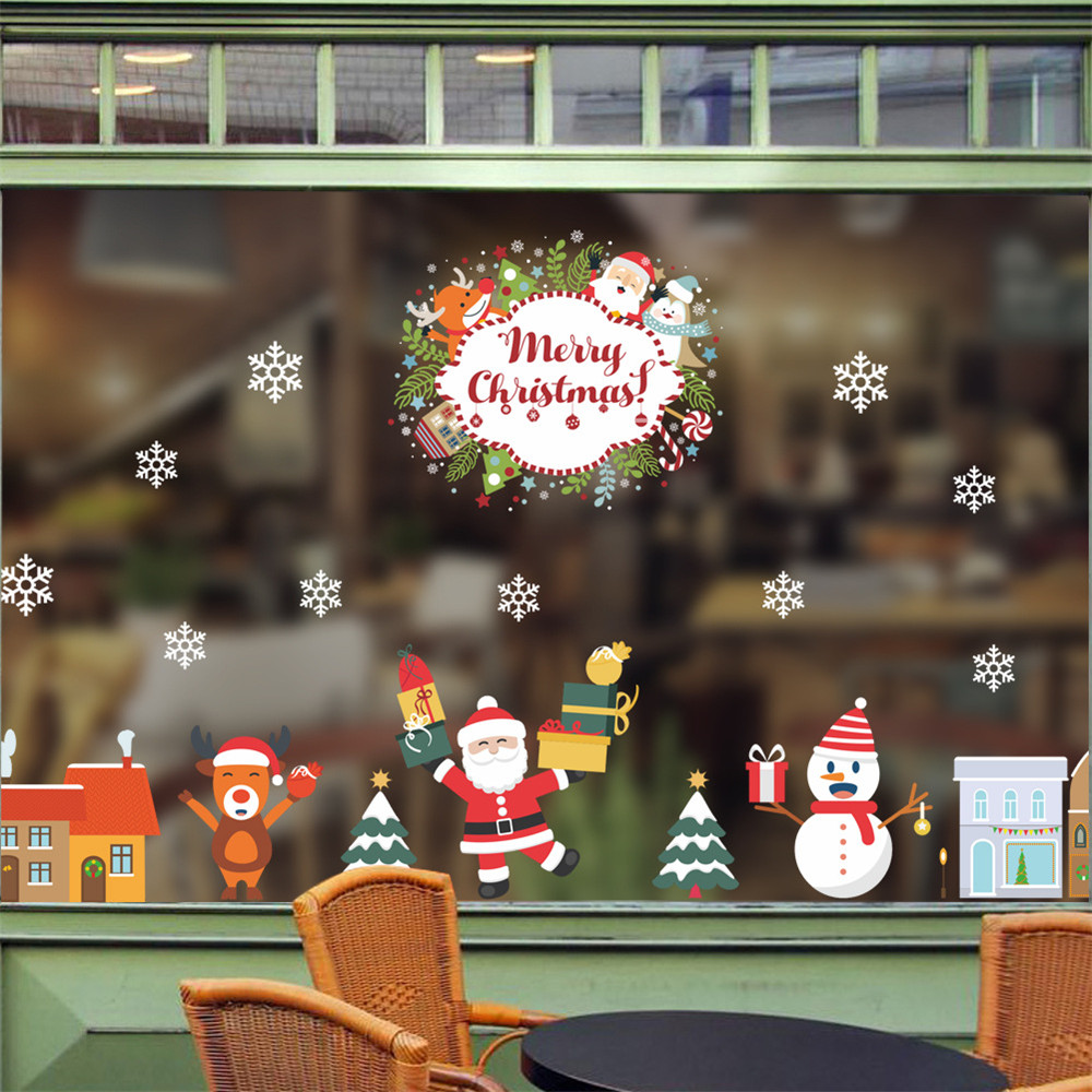 Christmas Wall Decals Removable.Merry Christmas Wall Stickers Removable Santa Claus Snowflake Shop Window Decals