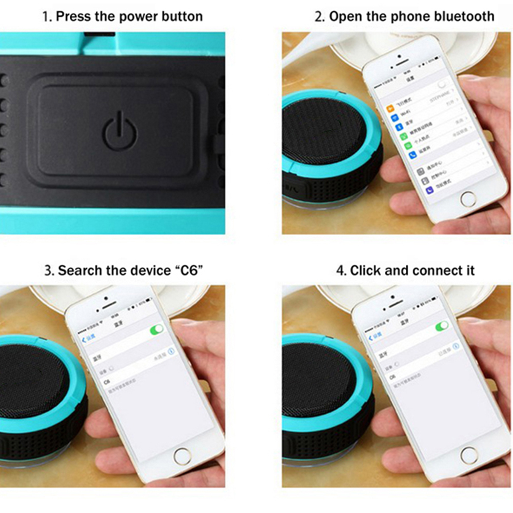 C6 Bluetooth Shower Speaker Mini Portable Waterproof Bluetooth Speaker