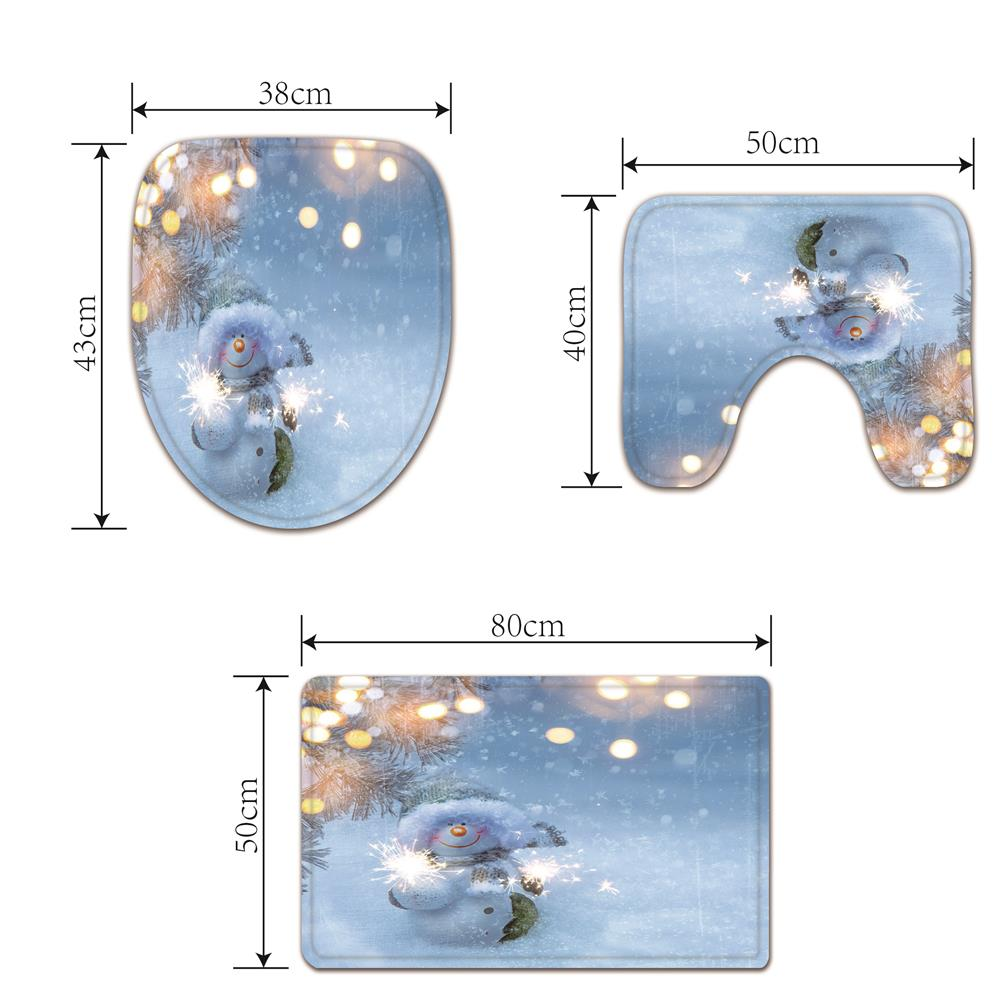 Wind Broom Snowman Digital Printed Flannel Toilet Three-Piece- Multi 43cmx38cm,40cmx50cm,50cmx80cm
