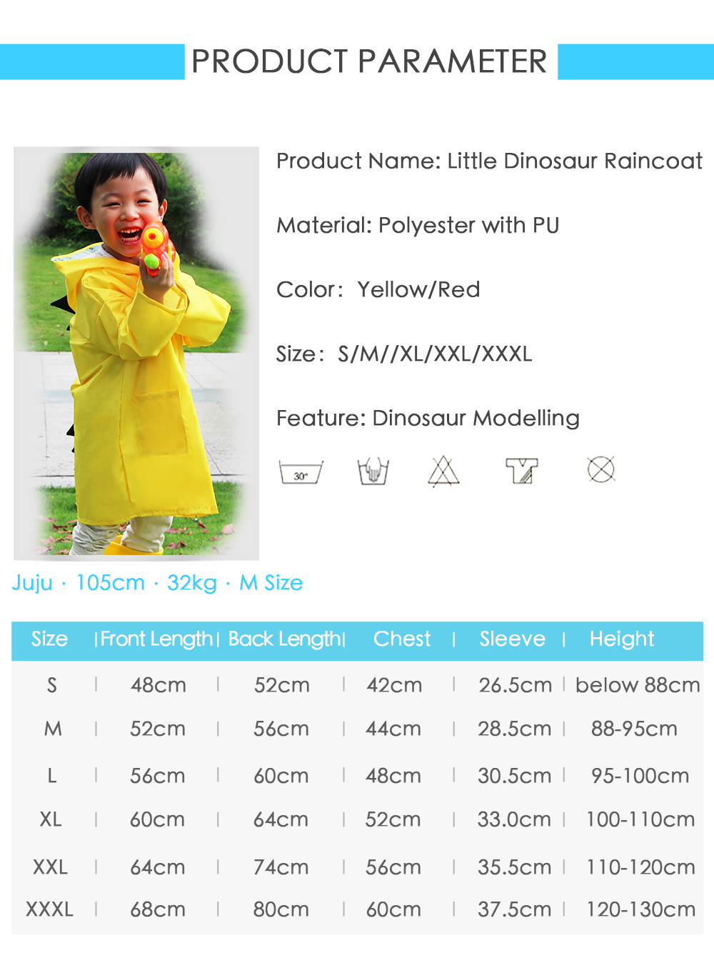 Cute Lightweight Dinosaur Waterproof Jacket Raincoat for Girls and Boys- Yellow M