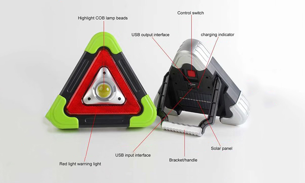 BRELONG Simple Multi-function Solar Charging Triangle Field Camping Light