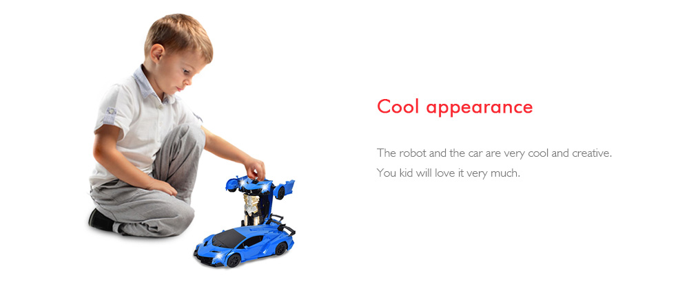 Gesture Sensing Robot One Button Transformation Remote Control Car Toy- Ocean Blue