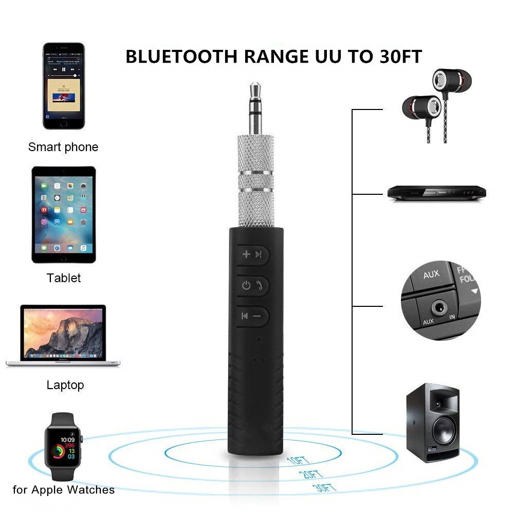 3.5mm Blutooth Wireless For Car Music Audio Bluetooth Receiver Adapter- Black