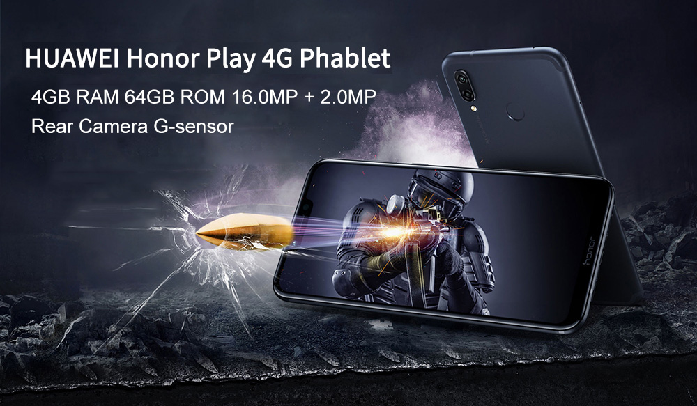 HUAWEI Honor Play 4G Phablet 6.3 inch Android 8.1 Kirin 970 Octa Core 2.36GHz 4GB RAM 64GB ROM 16.0MP Front Camera Fingerprint Sensor 3750mAh Built-in- Purple