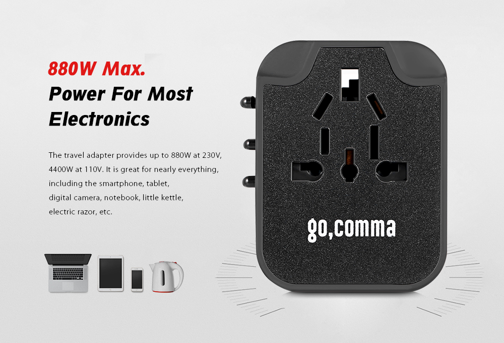gocomma Worldwide Multifunctional International Plug 4 USB 3.5A Output  Travel Charger Power Adapter- Black e46a48ac4cfa4