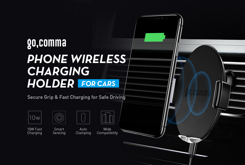 Gearbest Gocomma AQLCZZJ - ZSCM01 Mobile Phone Wireless Charging Holder for Cars - BLACK Smart Sensing Auto-clamp 10W Fast Charger