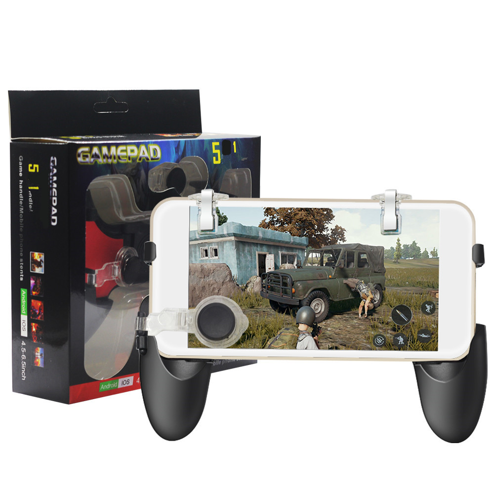 5 in 1 Mobile Game Controller Upgrade Version Trigger for and Gaming Joysticks- Black