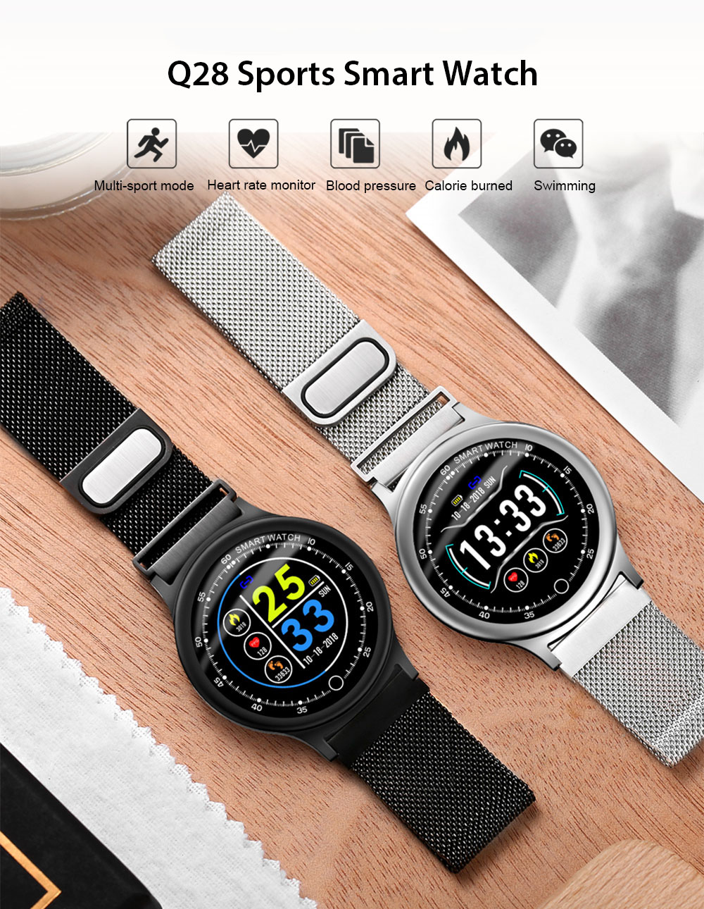 Q28 Sports Smart Watch 1.34 inch Color Screen IP68 Waterproof Heart Rate / Sleep Monitor - Black Leather Band