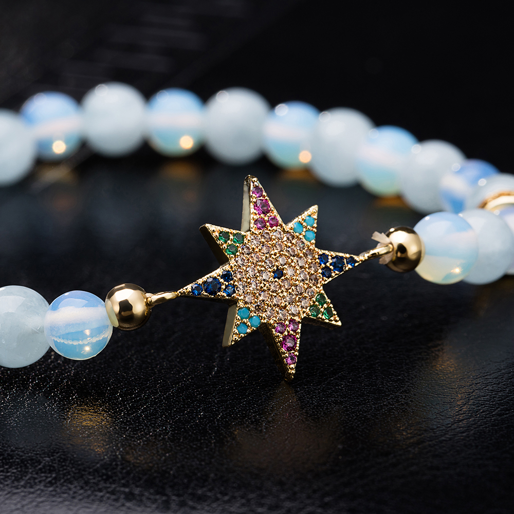 Lady Blue Agate Bracelet Star Decoration Alloy Zircons Bracelet- Blue