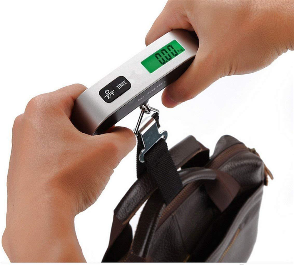 Portable Travel 110LB / 50KG LCD Digital Hanging Luggage Scale Electronic Weight- Silver