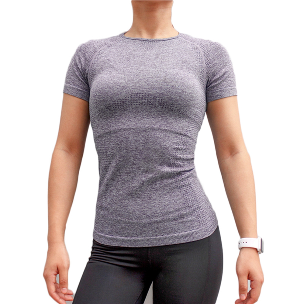 Women Sports T Shirts O Neck Undershirts Solid Color Gym Running