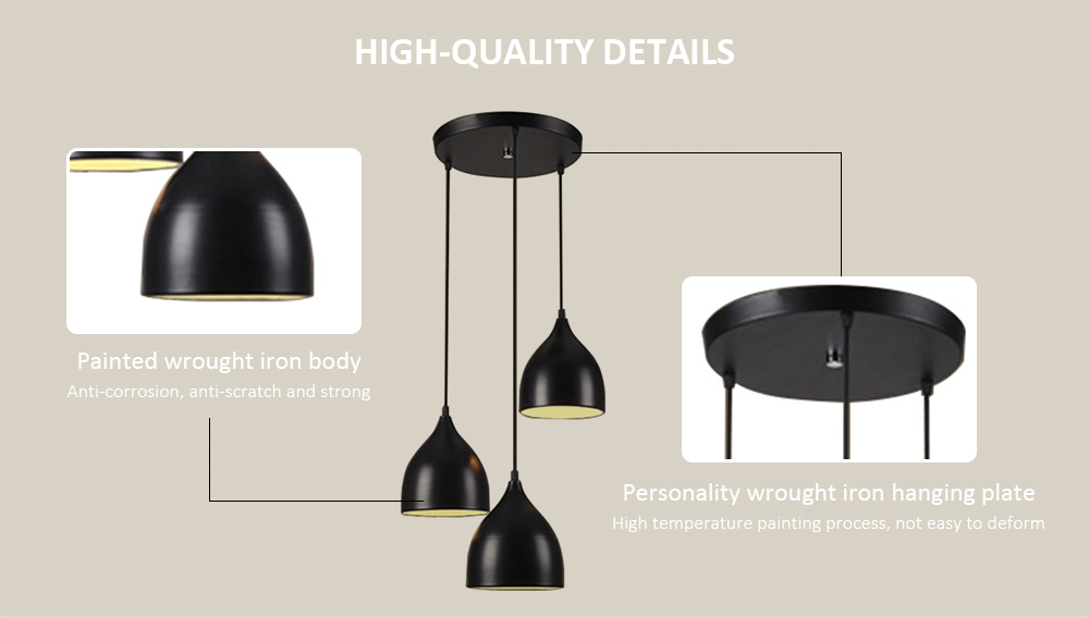 PZE - 494 - DD Creative Personality Pendant Light for Restaurant- Black Three Head with Round Base