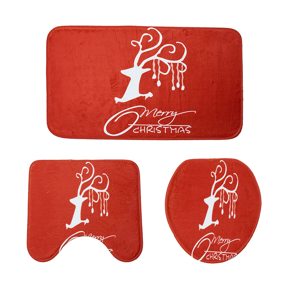 Christmas Decoration Toilet Carpet Three-Piece Combination Mat- Cherry Red 1 set