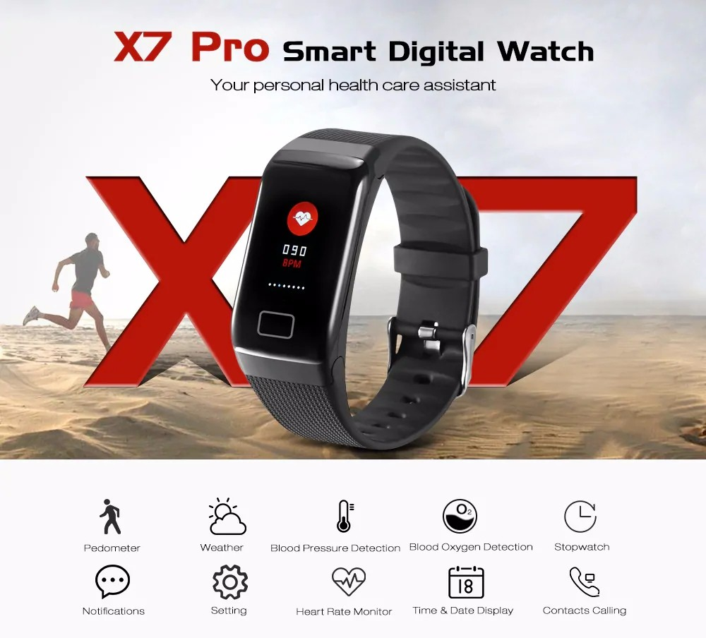 X7 Pro Smart Bracelet Digital Watch Heart Rate Blood Press Detection Fitness Tracker Sleep Monitor- Black