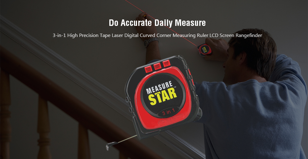 LED Laser Digital Measuring Tape- Lava Red