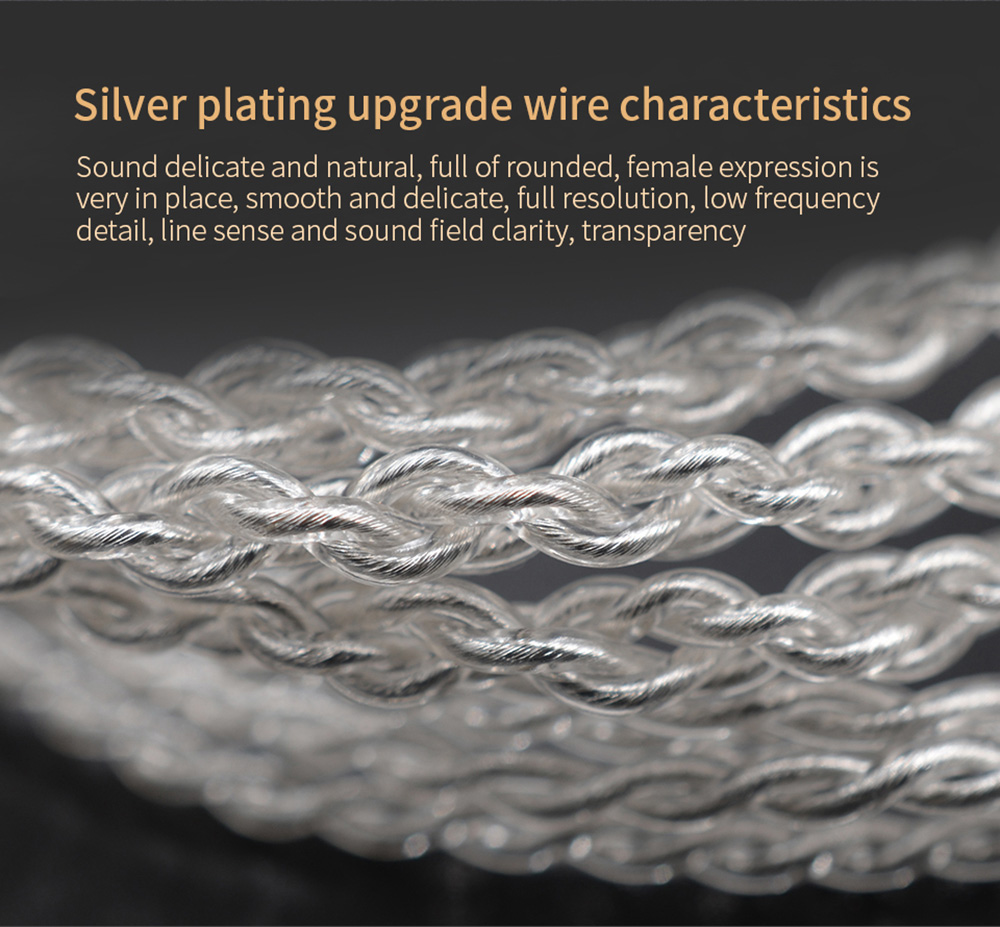 Original KZ Silver Plated Upgrade Wire Earbuds Cable 0.75mm Detachable Audio Cord for ZSN Earphone- Silver 0.75mm Pin