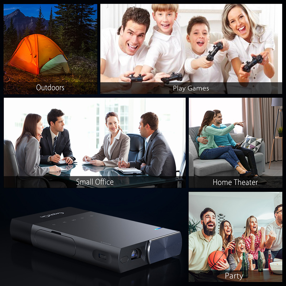 S1 DLP Smart Business Home Mini Projector 854 x 480 80ANSI Support HDMI USB AV- Gray US Plug
