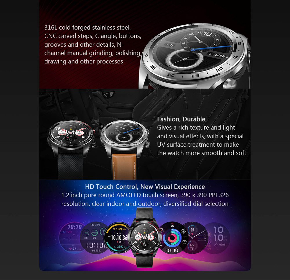 HUAWEI HONOR Watch Magic Glory Smart Watch Lightweight Design / One Week Battery Life / 50 Meters Waterproof / AMOLED Color Screen / GPS / NFC Payment / Smart Reminder Lava Black- Silver