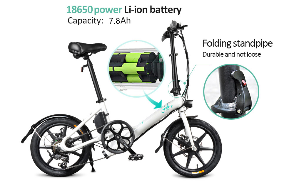 FIIDO D3 Shifting Version 16 inch Folding Electric Bike Moped Bicycle- Black