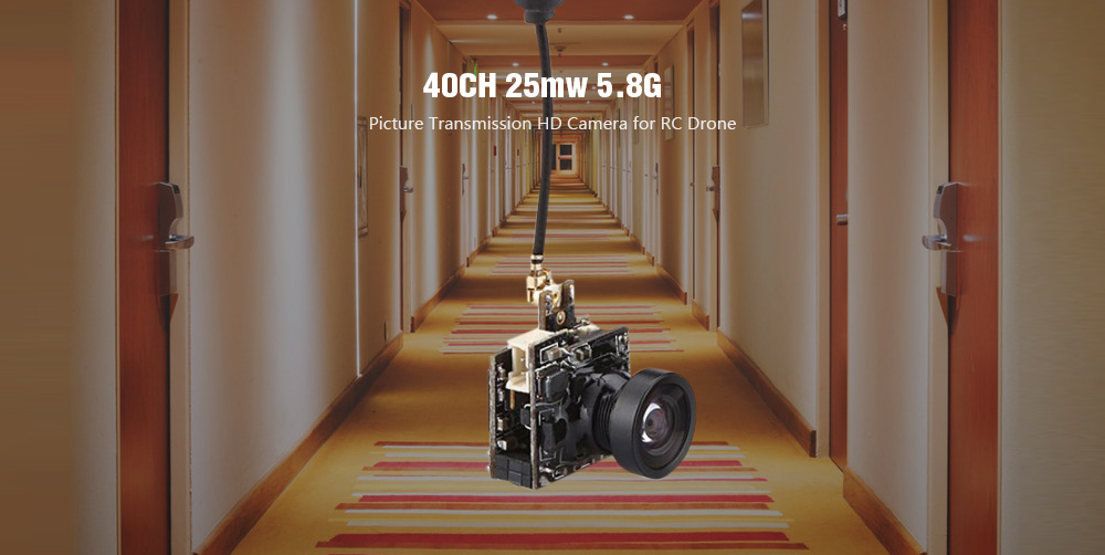 40CH 25mw 5.8G Picture Transmission HD Camera for RC Drone- Black LST - S2 +