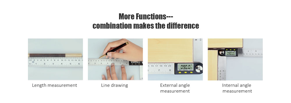 Digital Woodworking Angle Ruler- Silver