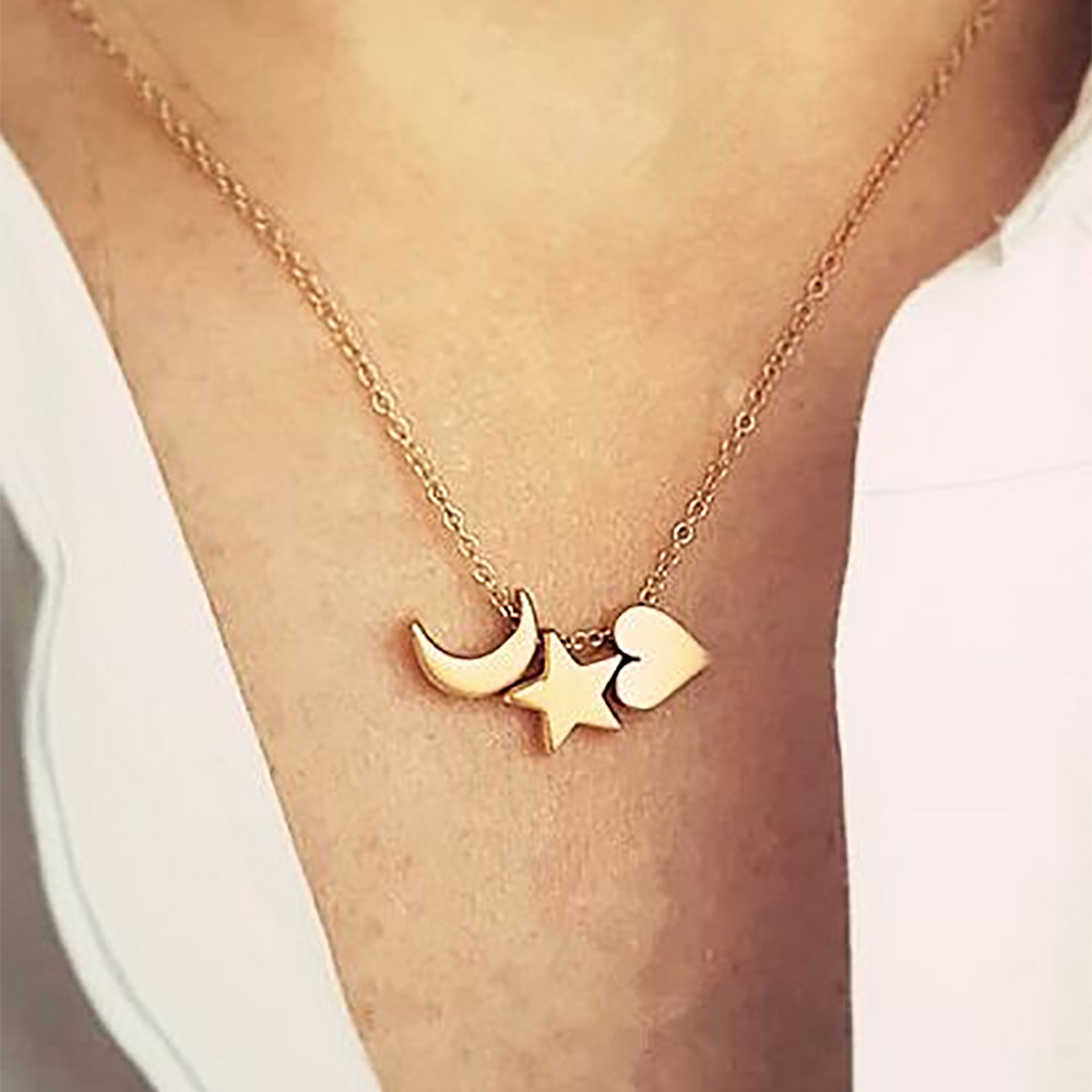 Surgical Jewellery Cross Star 1pc 2 Platinum Star Stainless Steel Necklace Heart Ladies Chains and Necklaces