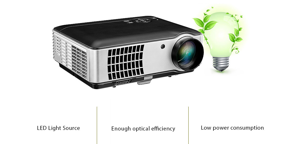RD - 806 LCD Projector Home Theater / 1280 x 800P / 2800 Lumens- Natural Black US Plug (3-pin)