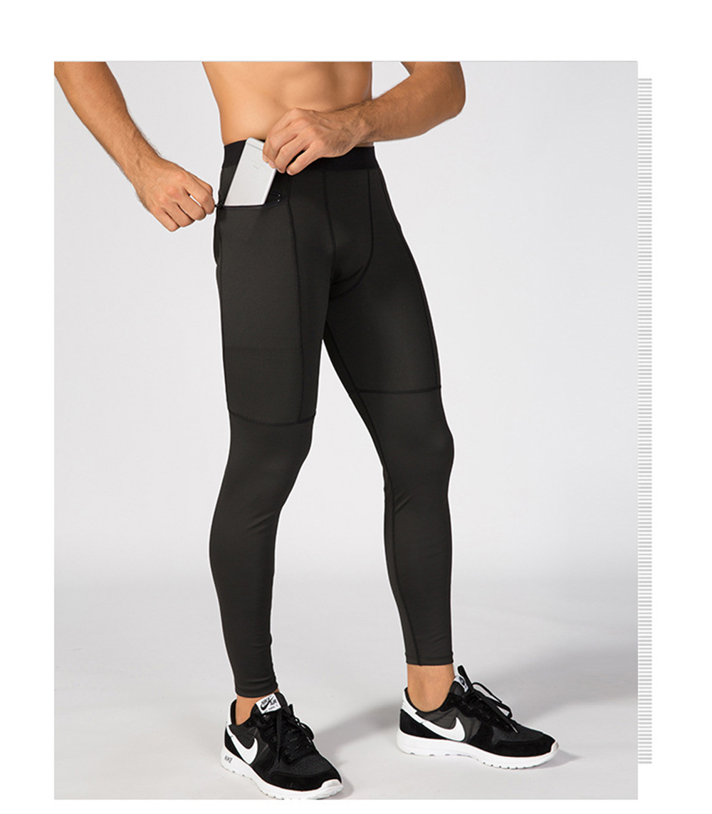Застежка-молния Pocket PRO Спортивная тренировка Wicking Quick-Drying High-Elastic Tights- Чёрный M
