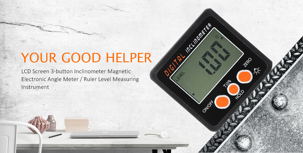 LCD Screen 3-button Inclinometer Magnetic Electronic Angle Meter / Ruler Level Measuring Instrument- Black