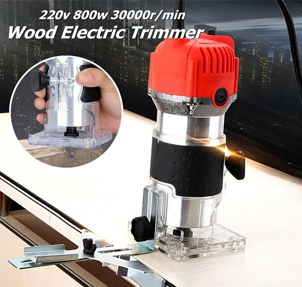 Woodworking Electric Trimming Machine Engraving Electromechanical Wood Milling Slotting Machine- Red EU Plug