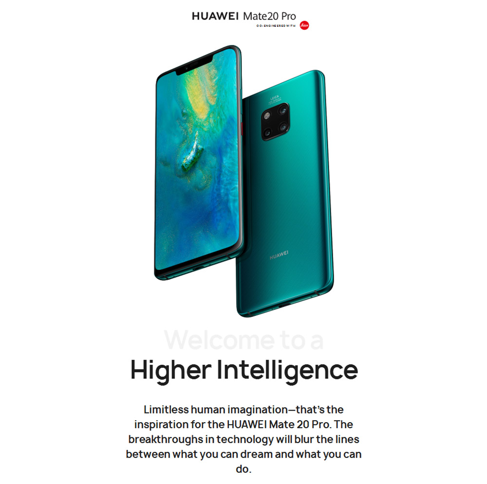 HUAWEI Mate 20 Pro 4G 6.39 inch Phablet Android 9.0 Kirin 980 Octa Core 2.6GHz 6GB RAM 128GB ROM 40.0MP + 20.0MP + 8.0MP Rear Camera 24.0MP Front Camera 4200mAh Built-in Battery- Black