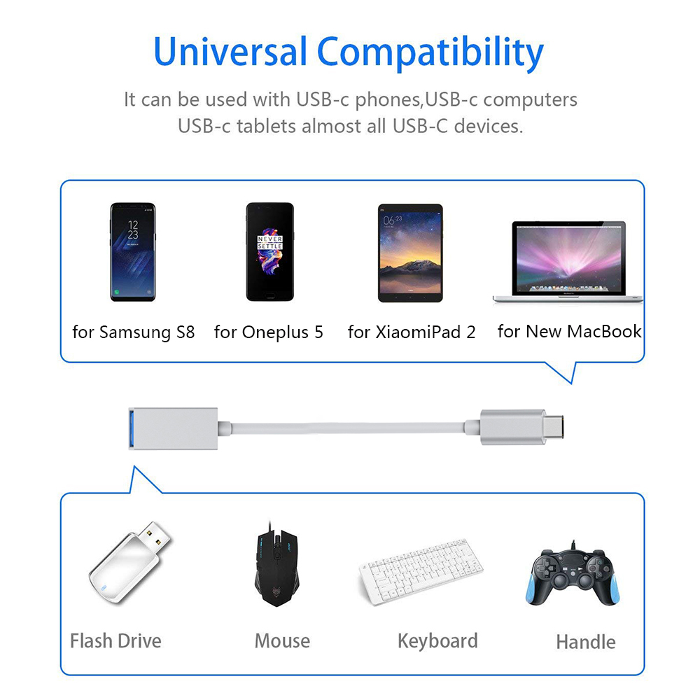 USB C to USB 3 0 OTG Type C Adapter Cable Compatible for Samsung Galaxy S9  S8 Pl