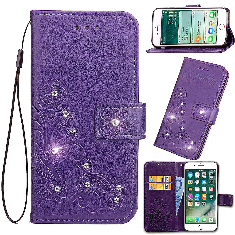 sale retailer 186a1 aca63 Bling Diamond Case For Xiaomi Redmi Note 6 Pro Embossing Flower PU Leather  Cover