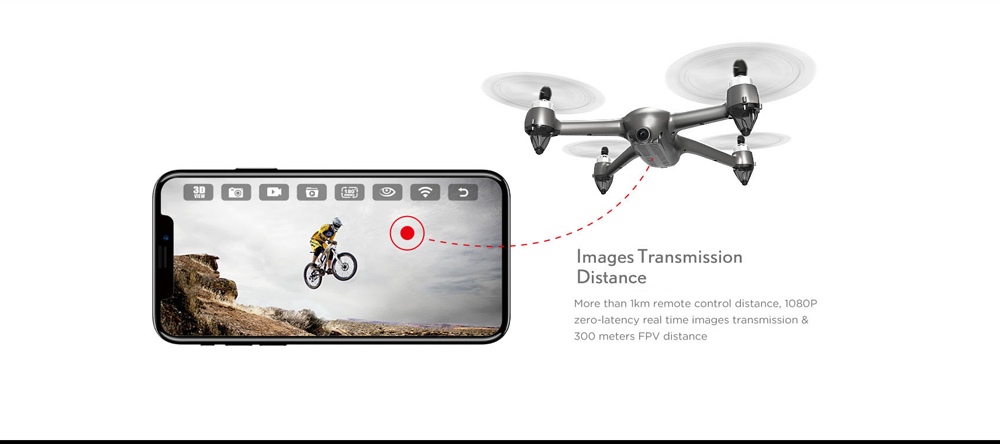 MJX B2SE 5G WiFi FPV 1080P GPS Caméra brushless Hold Altitude RC Drone Quadcopter RTF- gris chiné 3 piles + 1 Sac à dos